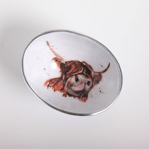 Tilnar Art Meg Hawkins Collection Handmade Highland Cow Oval Bowl Petite