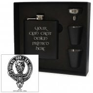 Menzies Clan Crest Black 6oz Hip Flask Box Set
