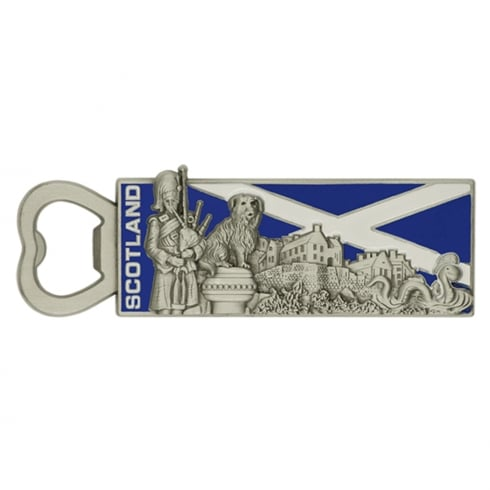 EastWest Metal Bottle Opener Magnet With Scottish Landmarks and Flag