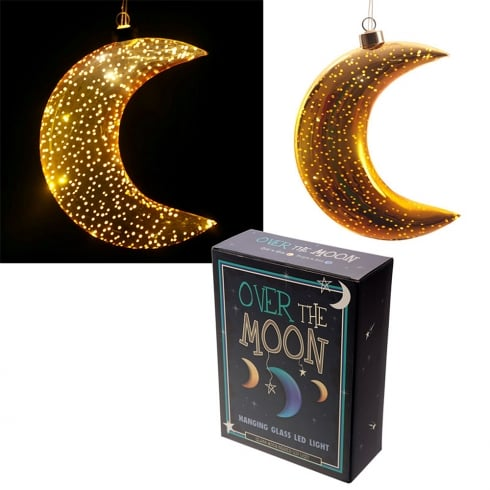 Puckator Metallic Gold Small Glass Hanging LED Moon Light