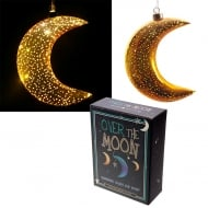 Metallic Gold Small Glass Hanging LED Moon Light