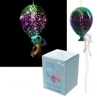 Metallic Green & Purple Glass Hanging LED Light Balloon