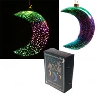 Metallic Green & Purple Small Glass Hanging LED Moon Light