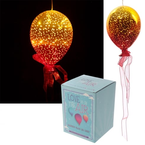 Puckator Metallic Orange & Yellow Glass Hanging LED Light Balloon