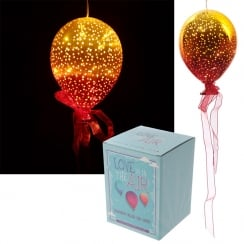 Metallic Orange & Yellow Glass Hanging LED Light Balloon