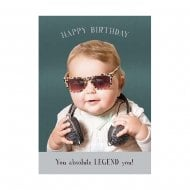 Midget Gems Absolute Legend Baby With Sunglasses Birthday Card