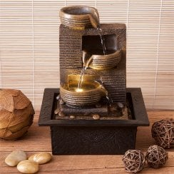 Mini Indoor Bronze & Black Triple Bowls Water Fountain