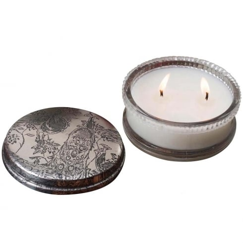 Himalayan Mini Powder Pot Peacock with Honeysuckle Fragrance Candle