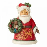 Mini Santa Holding Wreath Figurine