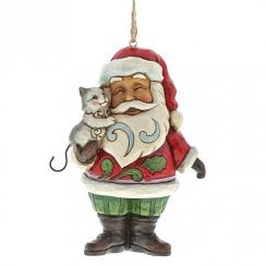 Mini Santa With Cat Hanging Ornament