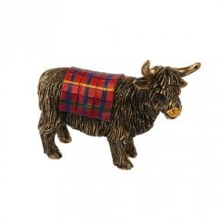 Miniature Bronze Tartan Highland Cow Figurine