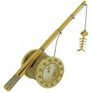 Miniature Fishing Reel Goldtone Clock