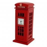 Miniature Red Telephone Box Metal Mantel Clock IMP412(AL)