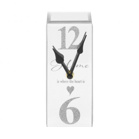 Hestia Mirrored Silver Mantel Clock 25cm