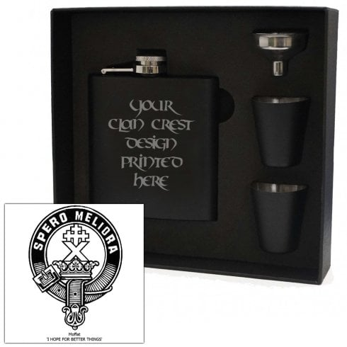 Art Pewter Moffat Clan Crest Black 6oz Hip Flask Box Set