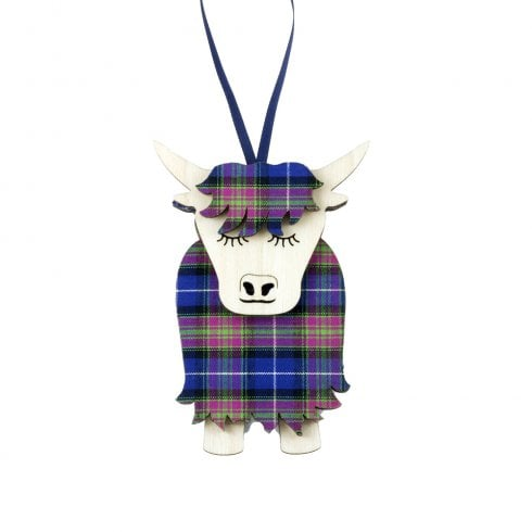 Artcuts Morag the Highland Cow Purple Heather Hanging Decoration