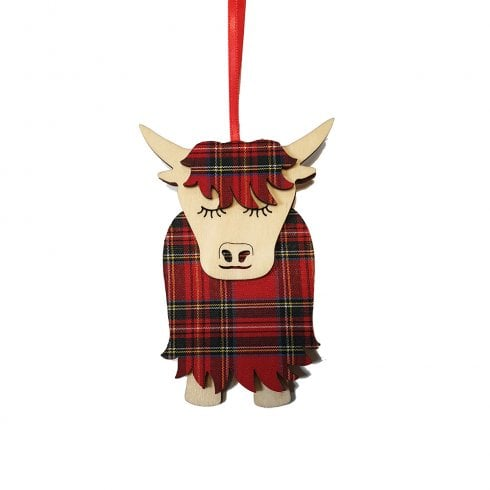 Artcuts Morag the Highland Cow Royal Stewart Hanging Decoration