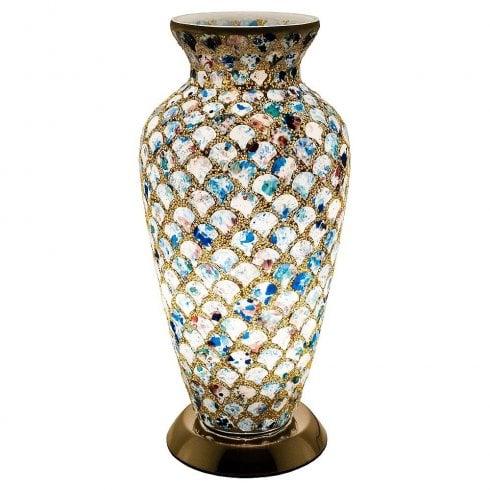 Mosaic Glass Flower Vase 37cm - Blue Tile