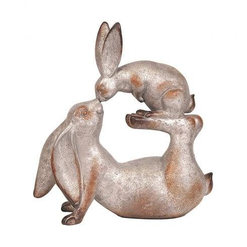 Straits Mother & Baby Rabbit 25.5cm Grey Outdoor Garden Ornament