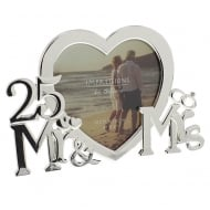 Mr & Mrs 25th Wedding Anniversary 4 x 4 Heart Shaped Photo Frame