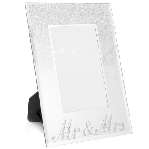 Lesser & Pavey Mr & Mrs Silver Glitter Photo Frame 4 x 6