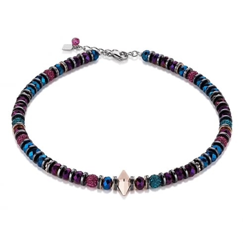 COEUR DE LION Multicolour Fantasy Swarovski Crystal with Hematite Double Spike Necklace