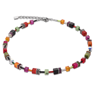 Multicolour Garden Swarovski Crystal with Tigers Eye Geo Cube Necklace
