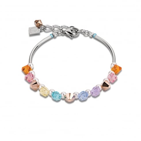 COEUR DE LION Multicolour Pastel Swarovski Crystal with Tigers Eye and Agate Bracelet