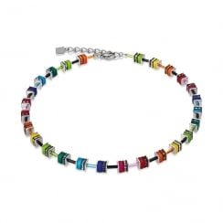Multicolour Swarovski Crystal with Polaris Geo Cube Necklace