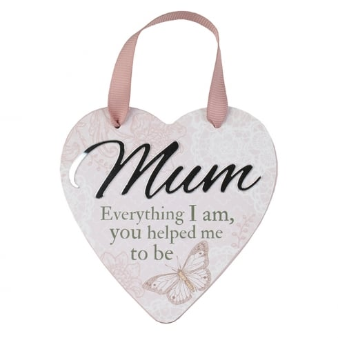 Reflective Words Mum Hanging Heart