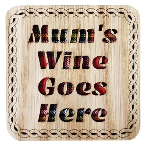 LT Creations Mums Wine Goes Here Square Coaster