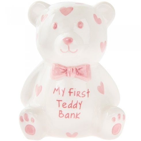 Joe Davies My First Teddy Money Bank Pink Small