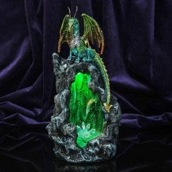 Mystic Legends 29cm Green Dragon Figurine with LED Lights