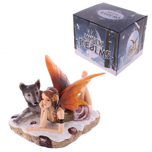 Puckator Mystic Realms Laying Snow Fairy With Wolves Figurine