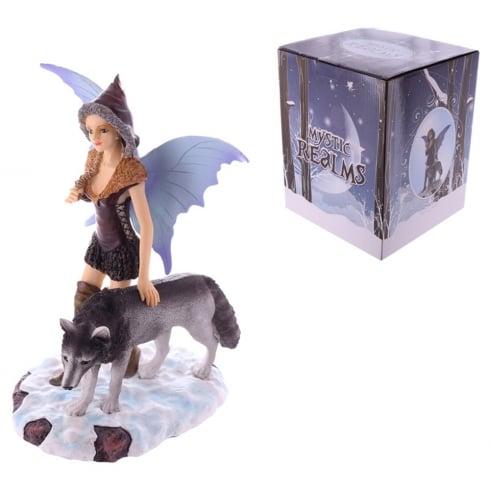 Puckator Mystic Realms Standing Snow Fairy With Wolf
