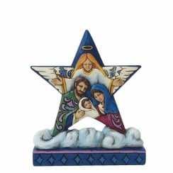Nativity Star On Cloud With Holy Family Mini Figurine