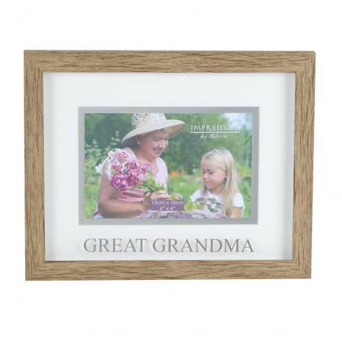 Impressions By Juliana Natural Wood Effect Great Grandma 6 x 4 Photo Frame