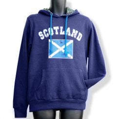 Navy Blue Saltire Flag Mens Distressed Hoodie LARGE