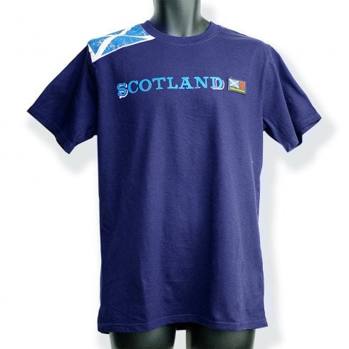 Wallace Of Scotland Navy Blue Shoulder Saltire Flag With Scotland (Blue Text) T-Shirt L
