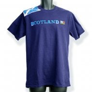 Navy Blue Shoulder Saltire Flag With Scotland (Blue Text) T-Shirt L