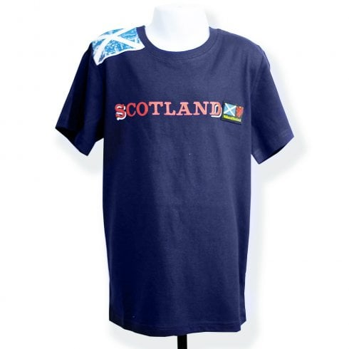 Wallace Of Scotland Navy Blue Shoulder Saltire Flag With Scotland (Red Text) T-Shirt XL