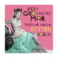 Nutty Neon God Created Man Then He Had Better Idea! Card