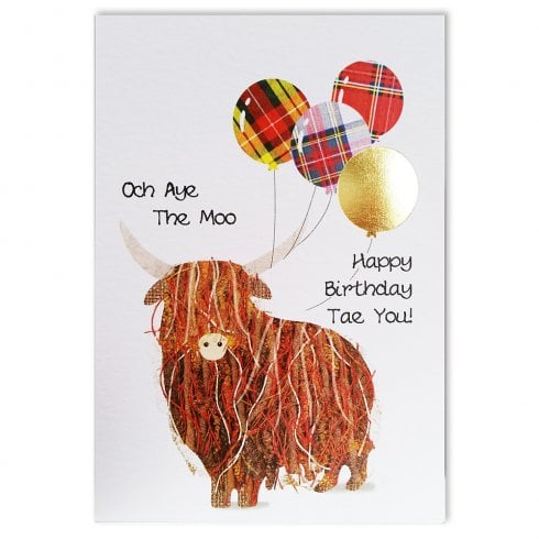 Embroidered Originals Och Aye The Moo Highland Cow Scottish Birthday Card