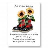 Och Its Yer Birthday - Tae A Stylish Lass Scottish Blank Card BD202