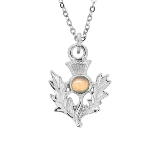 Art Pewter October Opal Birthstone Thistle Pendant