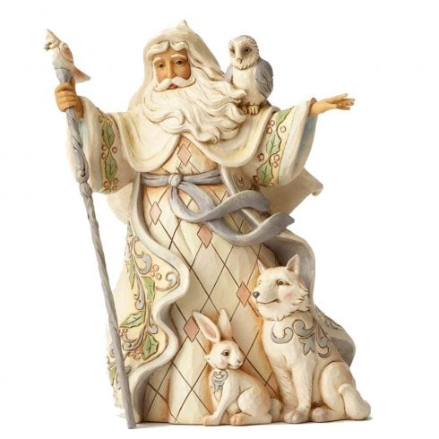 Jim Shore Heartwood Creek One Love for All White Woodland Santa with Cane