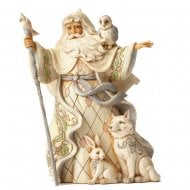 One Love for All White Woodland Santa with Cane