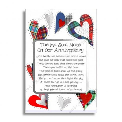 Embroidered Originals Oor Anniversary Twa Halves Scottish Card