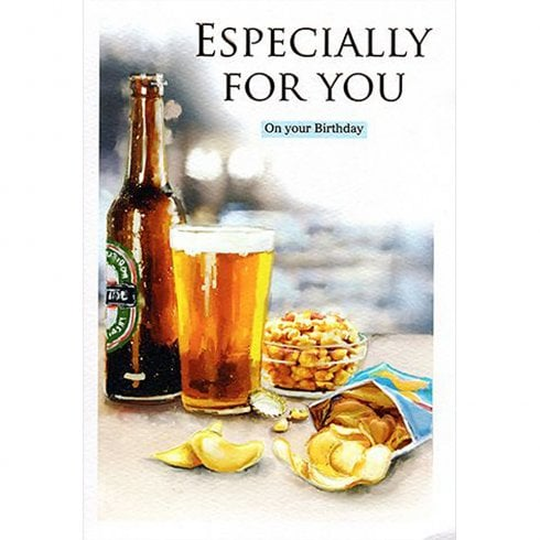 ICG Ltd Open Birthday Card Essence Range - Beer