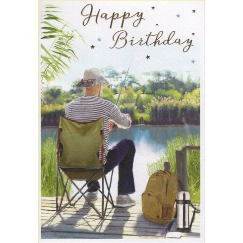 ICG Ltd Open Birthday Card Essence Range - Fishing